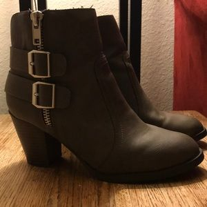 Merona Brown Buckled Ankle Boots